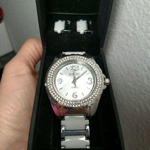 August Steiner women's silver white watch